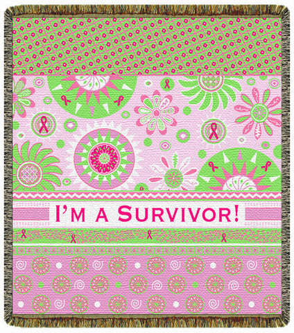 "I'm A Survivor 60"" Tapestry Throw 2 Layer Afghan Throw Blanket"