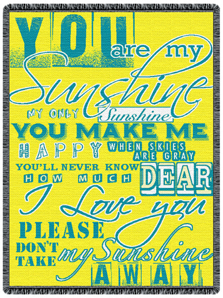 You Are My Sunshine 2-Layer Afghan Throw Blanket