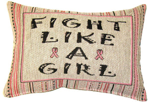 "Fight Like a Girl Breast Cancer Throw Pillow 12"" x 8"" Message Pillow"