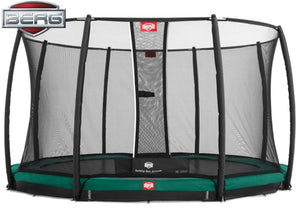 Berg Champion 11ft Trampoline with Safety Net Deluxe TwinSpring Gold-system - Noisette Place