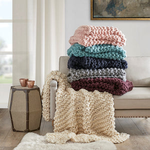Chunky Cable Knit Throw Blanket Ultra Plush and Soft 100% Acrylic Accent Throw - 50 x 60