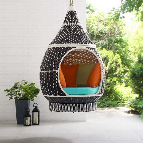 PALACE OUTDOOR PATIO WICKER RATTAN HANGING POD IN BROWN TURQUOISE - Noisette Place