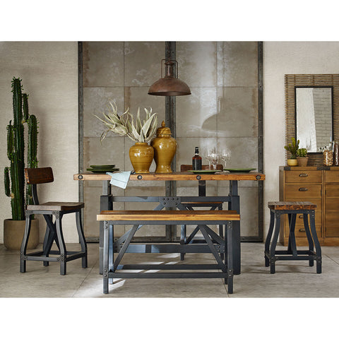 INK+IVY Lancaster 5pc Dining Gathering Rustic and Industrial Table Set - Noisette Place