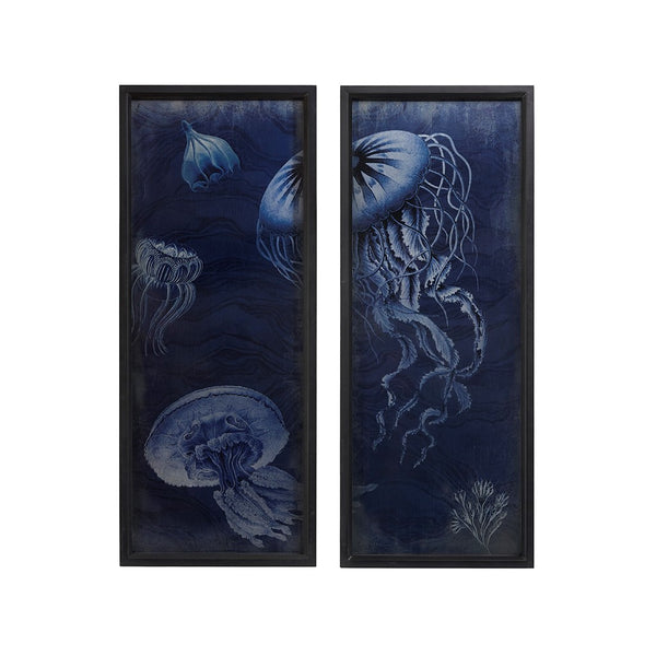 Jellyfish Wooden Wall Art With Graphics Set Of 2