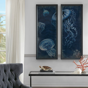Jellyfish Wooden Wall Art With Graphics Set Of 2 - Noisette Place