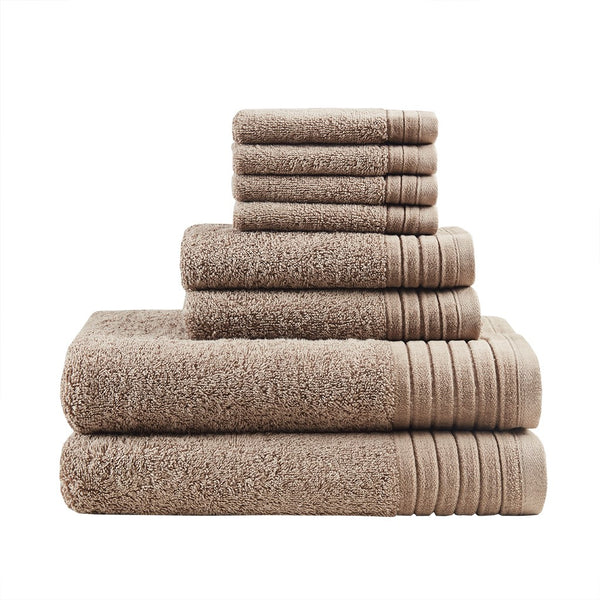 Mirage Solid 100% Cotton 8 Piece Towel Set - Noisette Place