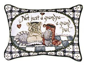 "Grandpa (Message Pillow) 9"" X 12"", Artist Lynn N. Parker - Noisette Place"