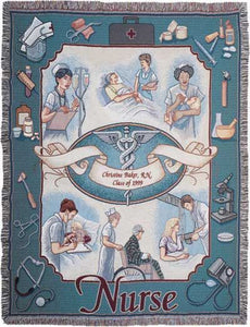 "Nurse Profession Pictorial Afghan Throw Tapestry Blanket - 50"" x 70"" - Noisette Place"