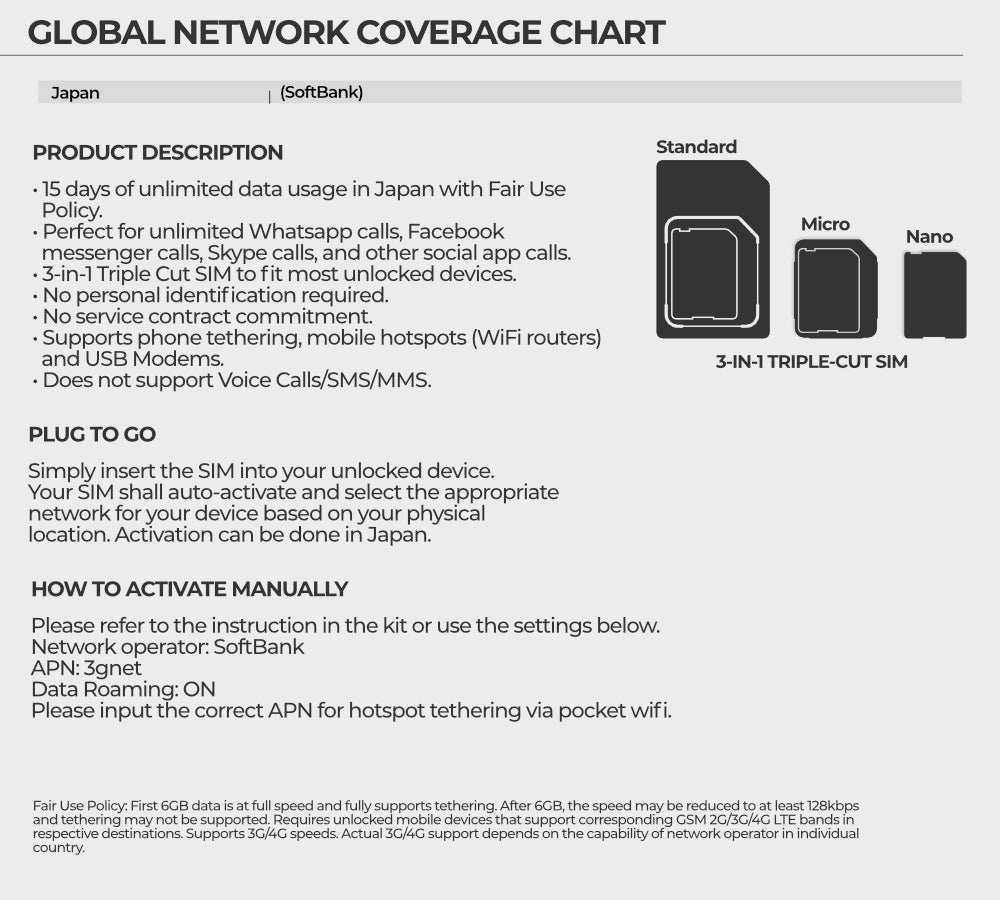 Details about JAPAN Asia 6GB 4G 15 Day UNLIMITED DATA SoftBank Travel  Prepaid SIM Card HOTSPOT