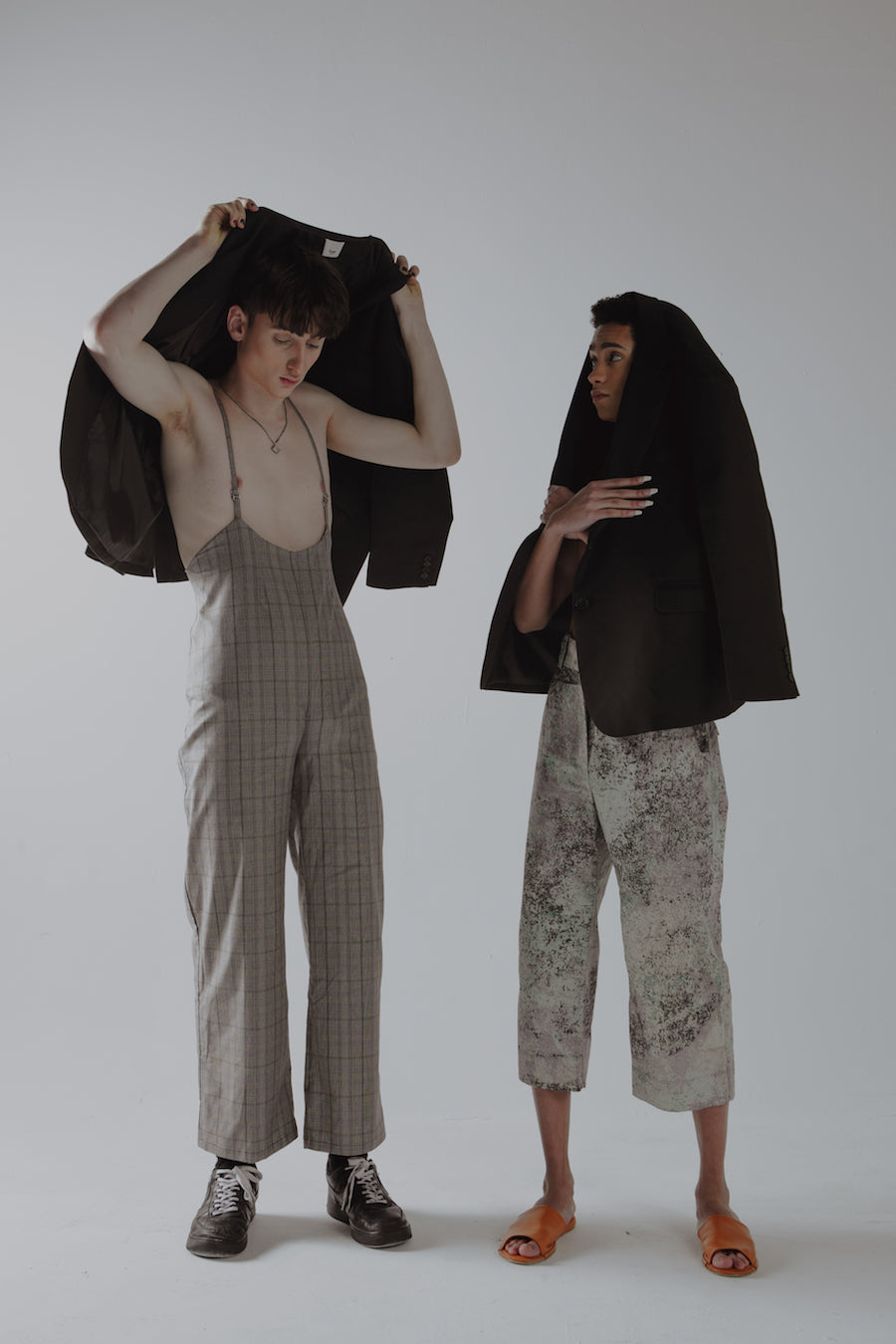Ethically made check jumpsuit with a wide leg, sustainably made by conscious clothing brand Fanfare Label