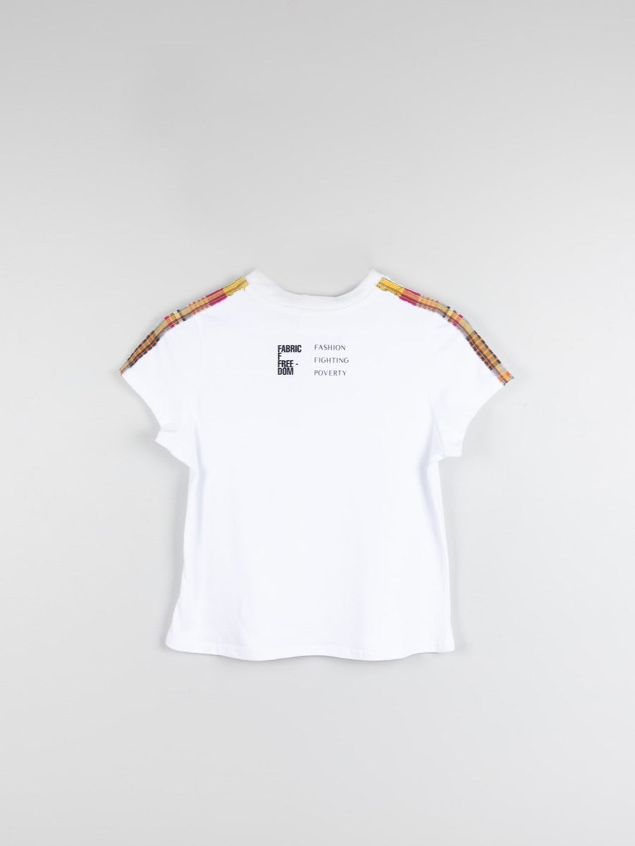Organic Cotton White T-shirt Made in UK by Sustainable women's clothing brand Fanfare. This Fashion That's Fair Slogan T-shirt has shoulder strap patterned details