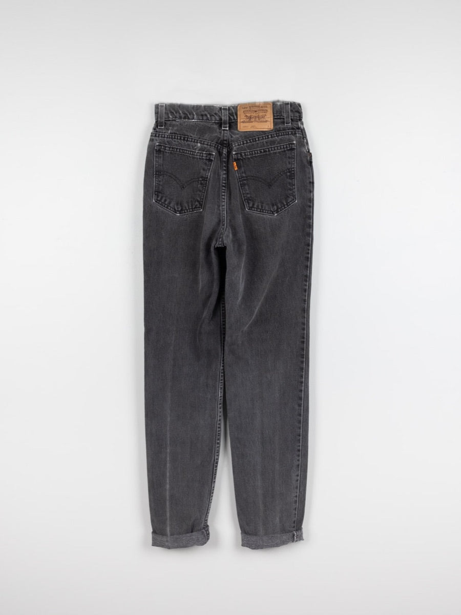 Upcycled Charcoal denim jeans with wool patterned stripes. Fanfare Label Sustainable Clothing