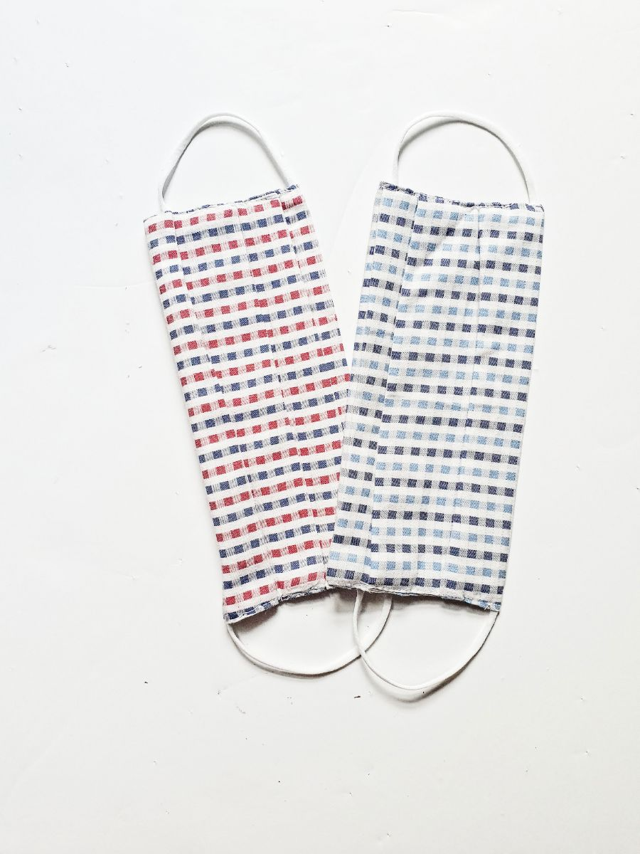 Fanfare 100% Organic Cotton blue check patterned fabric mask, sustainably made in the UK