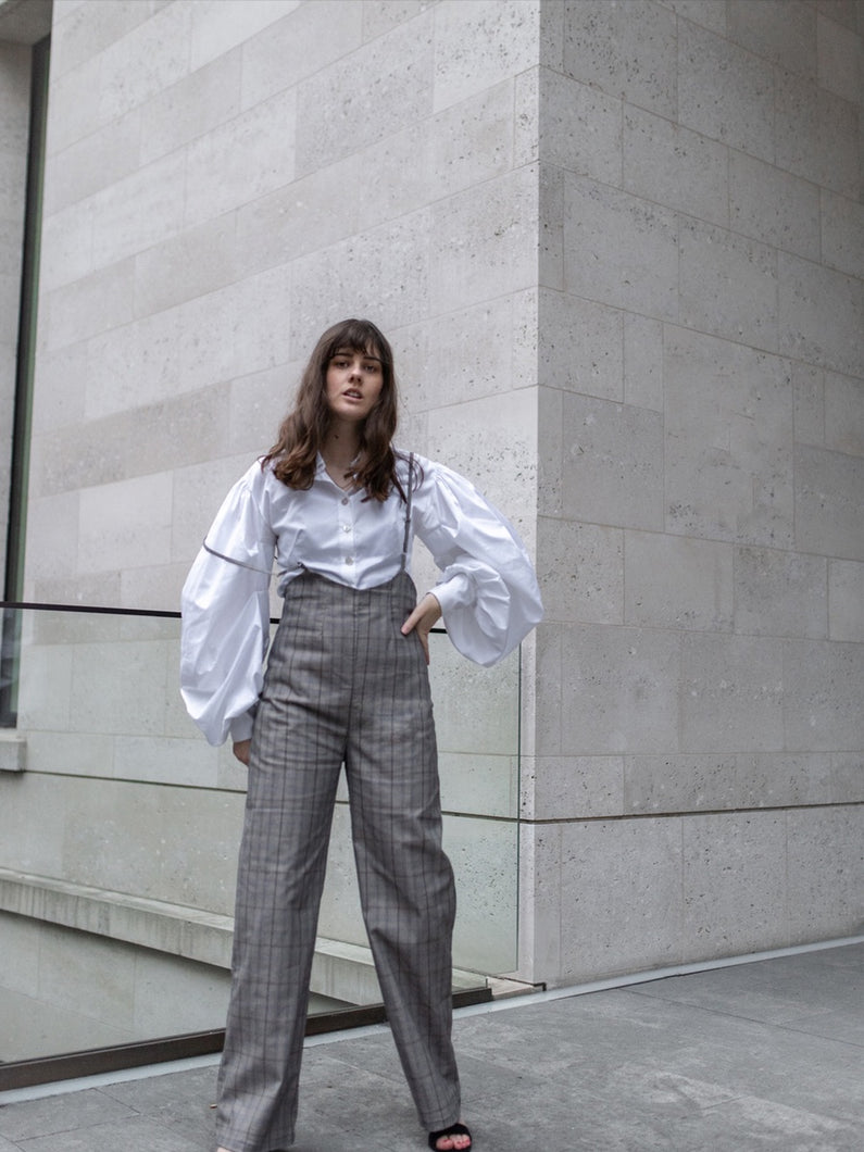 sustainable check wide leg jumpsuit, ethically made in the UK  Edit alt text