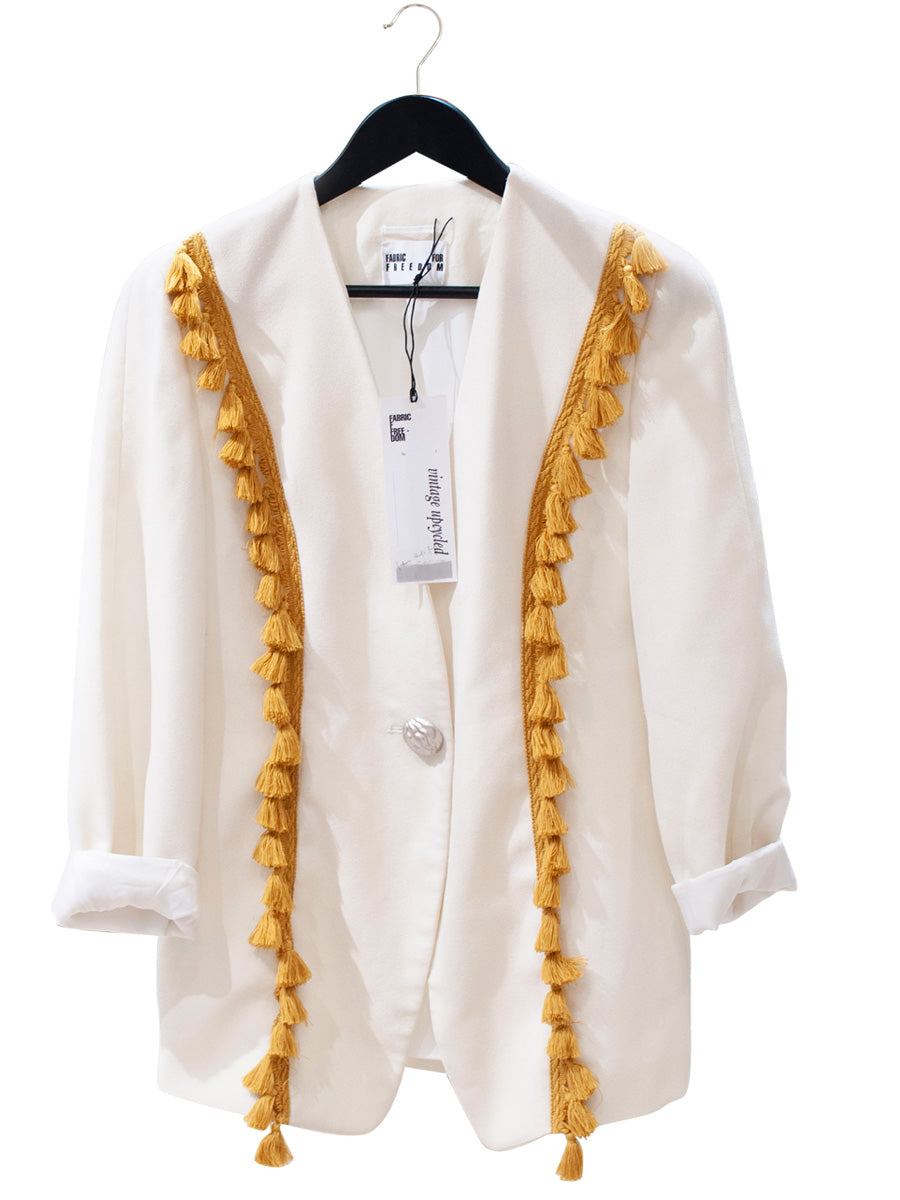 upcycled ivory blazer with yellow tassel trim
