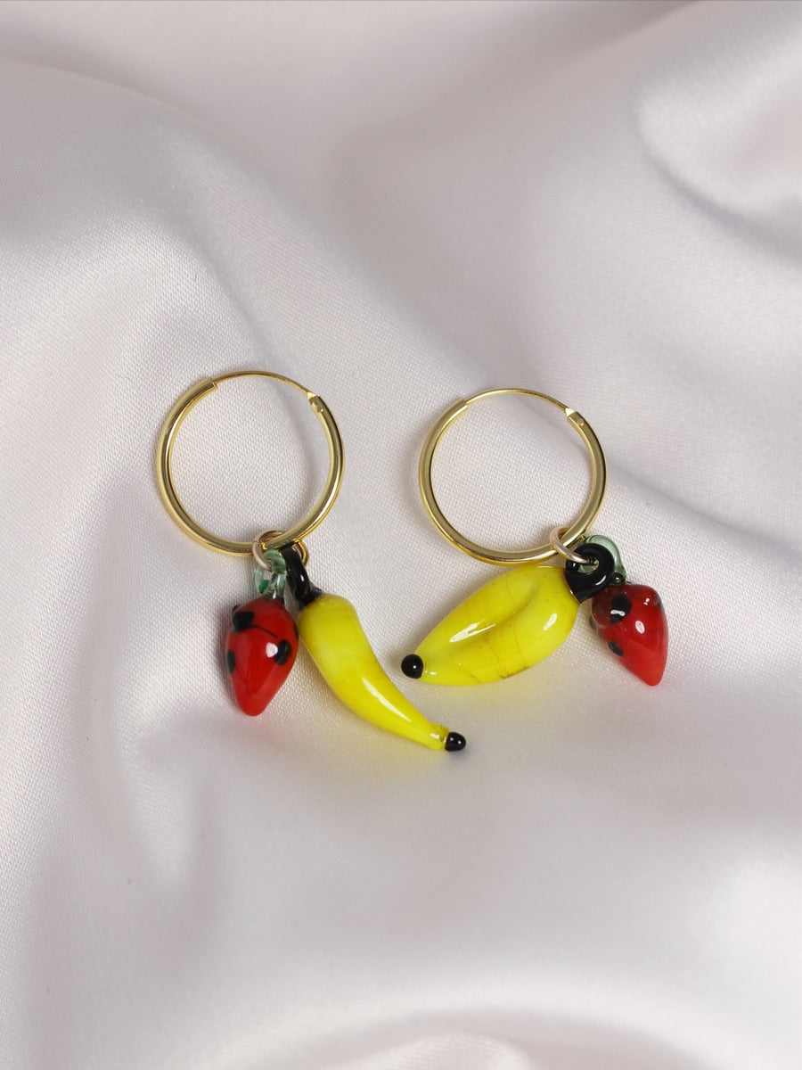 sustainable gold earrings melon and strawberry shaped hoops