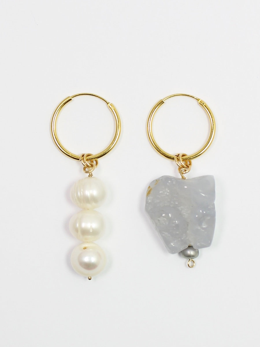 handmade jewellery in the UK, ethically made and sustainably created. Sustainable jewellery, sustainable pearl hoop drop earrings gold  Edit alt text