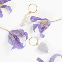 Load image into Gallery viewer, handmade jewellery in the UK, ethically made and sustainably created. Sustainable jewellery, sustainable pearl hoop drop earrings gold