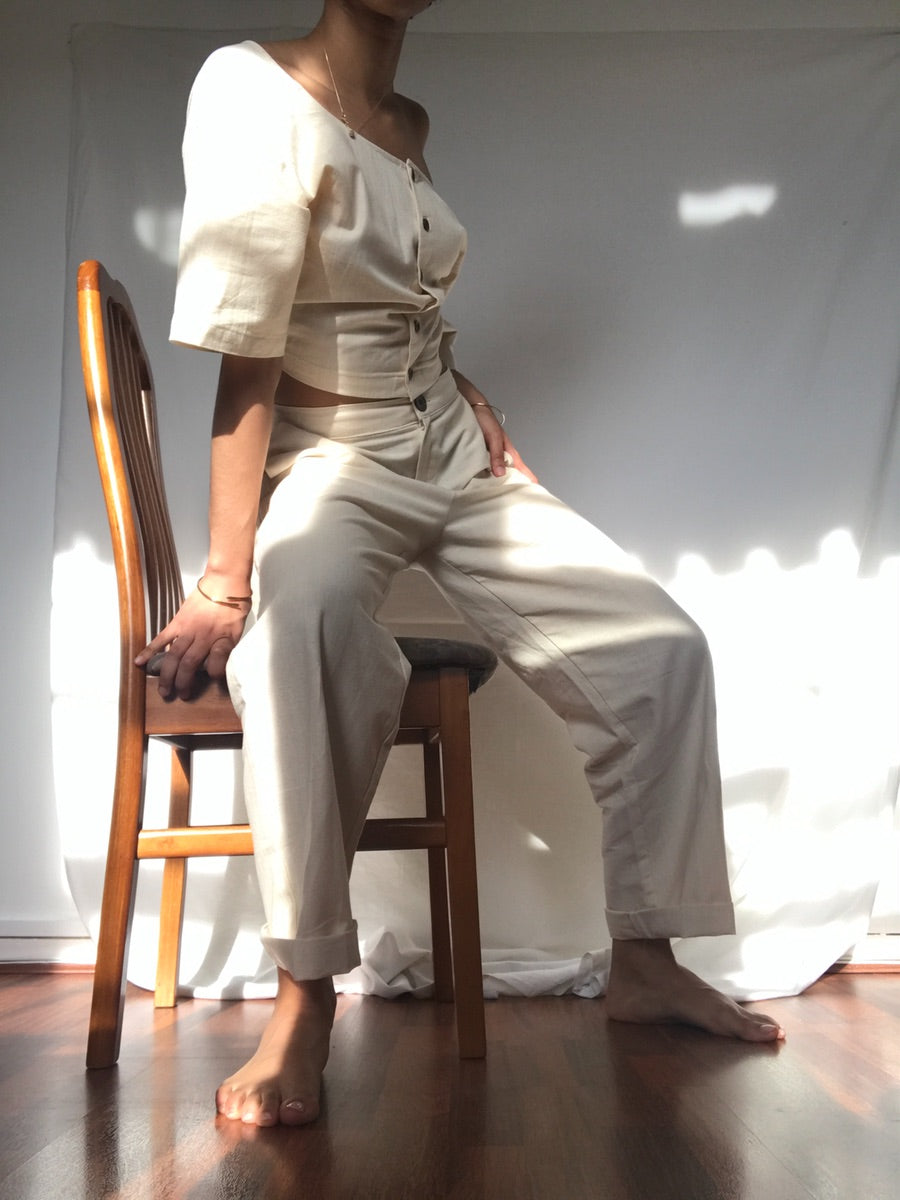 Brushed High Waisted Cotton Beige Trousers. Fanfare Label  Edit alt text