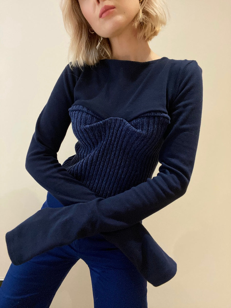 Recycled & Organic Cotton Bodice Navy Jumper