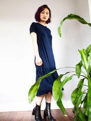 Organic Cotton Navy Drop waist jersey dress, loose fitting t-shirt dress made by sustainable clothing brand Fanfare Label