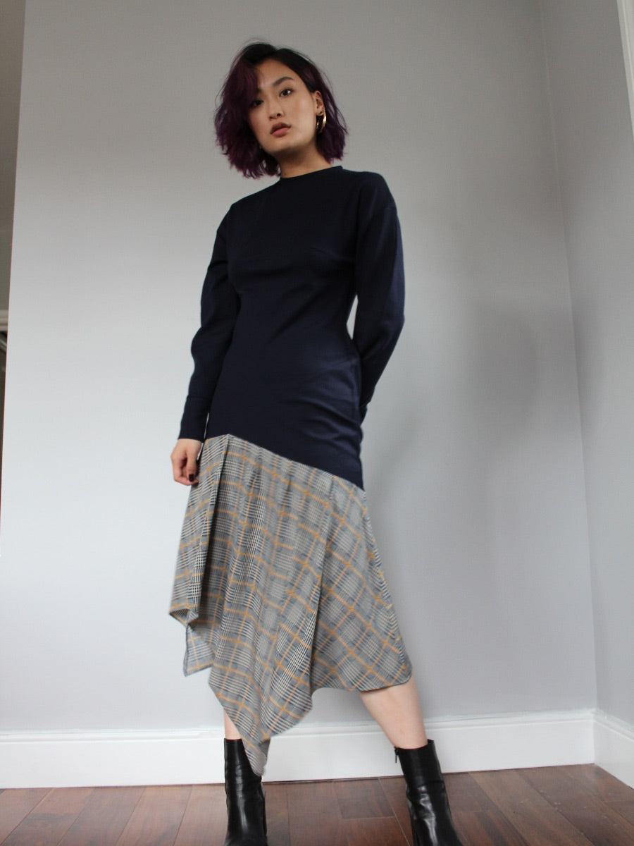 Asymmetric Check Dress, Navy with a navy & yellow check fluid skirt.  Made in the UK by sustainable & ethical clothing brand Fanfare.