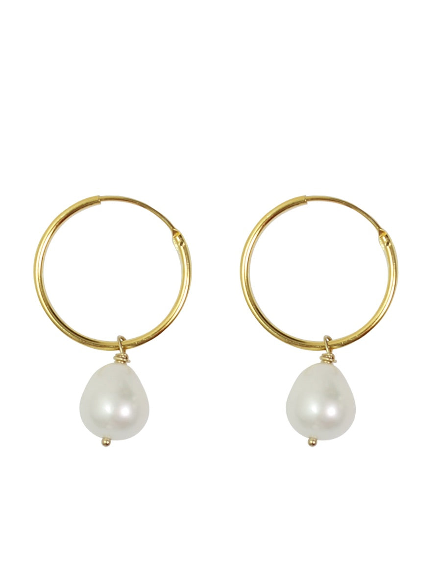 handmade jewellery in the UK, ethically made and sustainably created. Sustainable jewellery, sustainable pearl hoop drop earrings gold