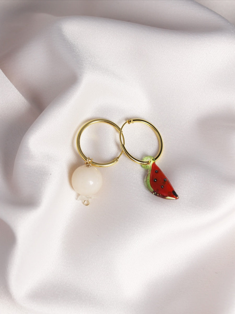 sustainable jewellery gold fruit hoops, watermelon hoops