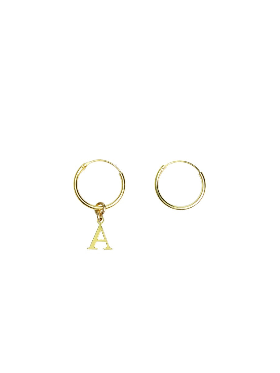 gold hoop earrings with letter of the alphabet for custom hoops