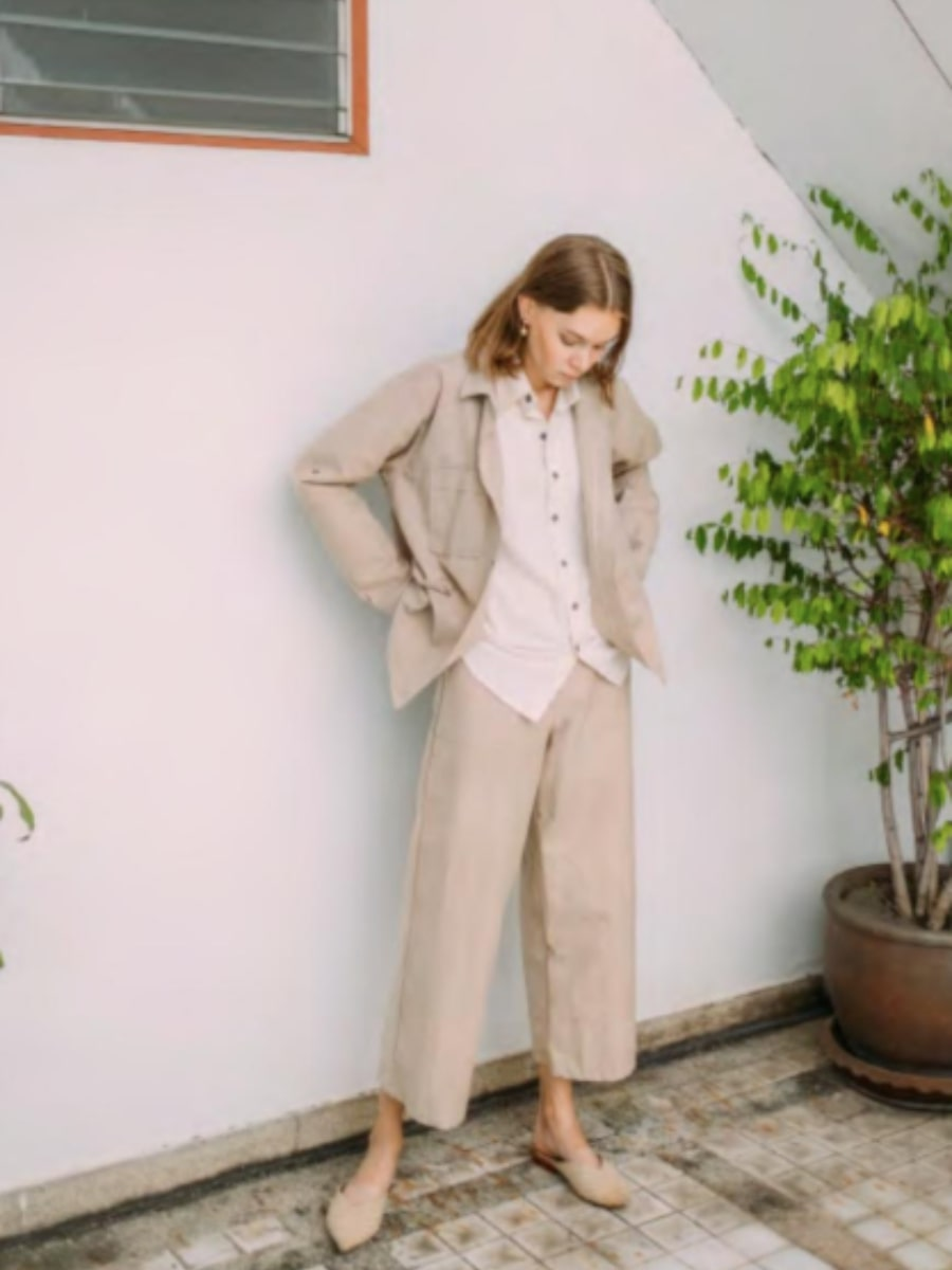 Ethically made brushed cotton beige shirt. Our sustainable linen look co-ord set is perfect for any occasion and can be dressed up or down.  Fanfare Label