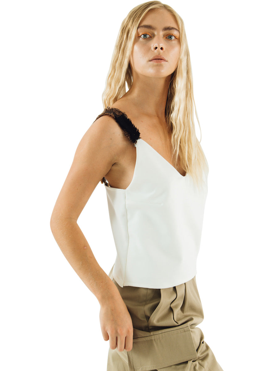 White sun v neck sun top that is made from recycled materials and patterned straps. Made in the UK by sustainable women's clothing brand Fanfare Label