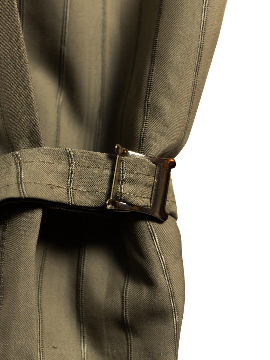 Organic Cotton kharki Utility Cargo Pant with two side pockets & buckles on the ankles. Sustainably made in the UK by ethical clothing brand Fanfare Label