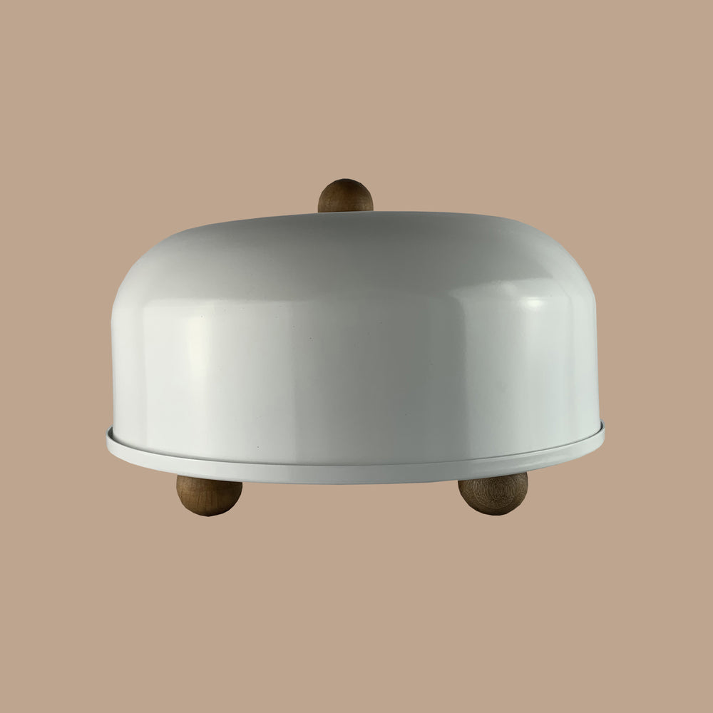 Cake Stand with Dome | Aluminum | Wood Base & Stand