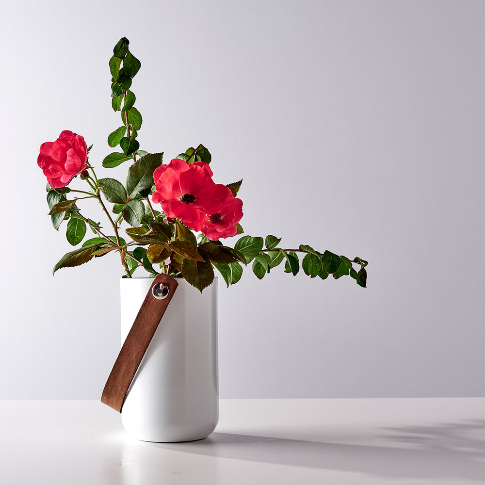 Aluminum White Vase with leather holder