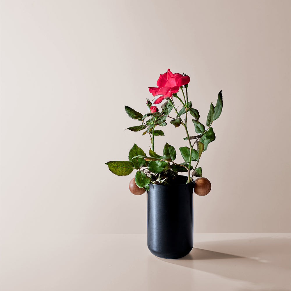 Aluminum Dark Grey Vase with wood handle
