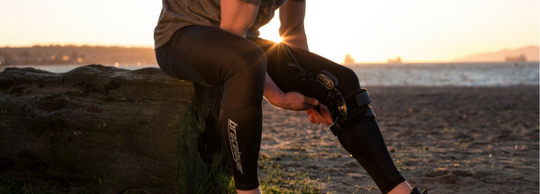 Stop custom knee brace from sliding down leg
