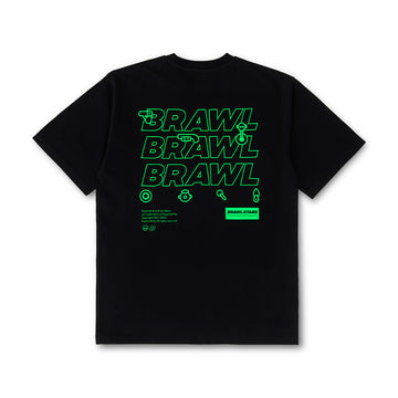 BRAWL STARS NEON LETTERING BLACK SHORT SLEEVE T-SHIRT