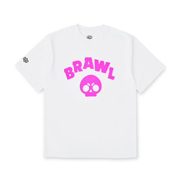 BRAWL STARS PINK SYMBOL WHITE SHORT SLEEVE T-SHIRT