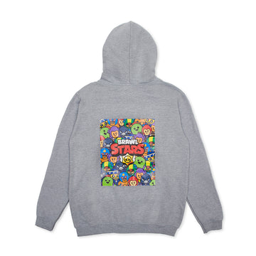 BRAWL STARS GRAY HOOD T-SHIRT (S - XL)