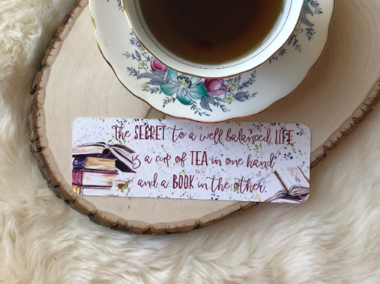 """Tea and Books"" Double Sided Bookmark"
