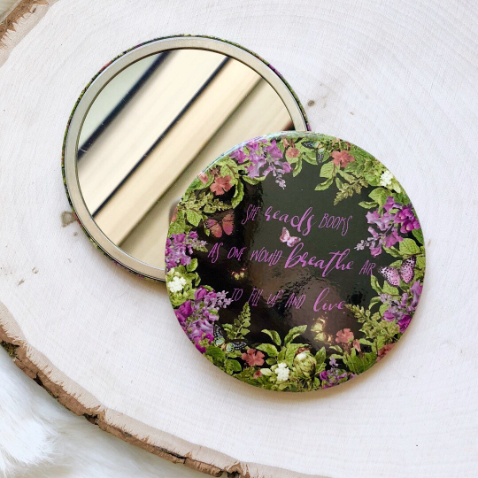 """She reads"" bookish pocket mirror"