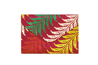 Pink Leaf Envelope Clutch