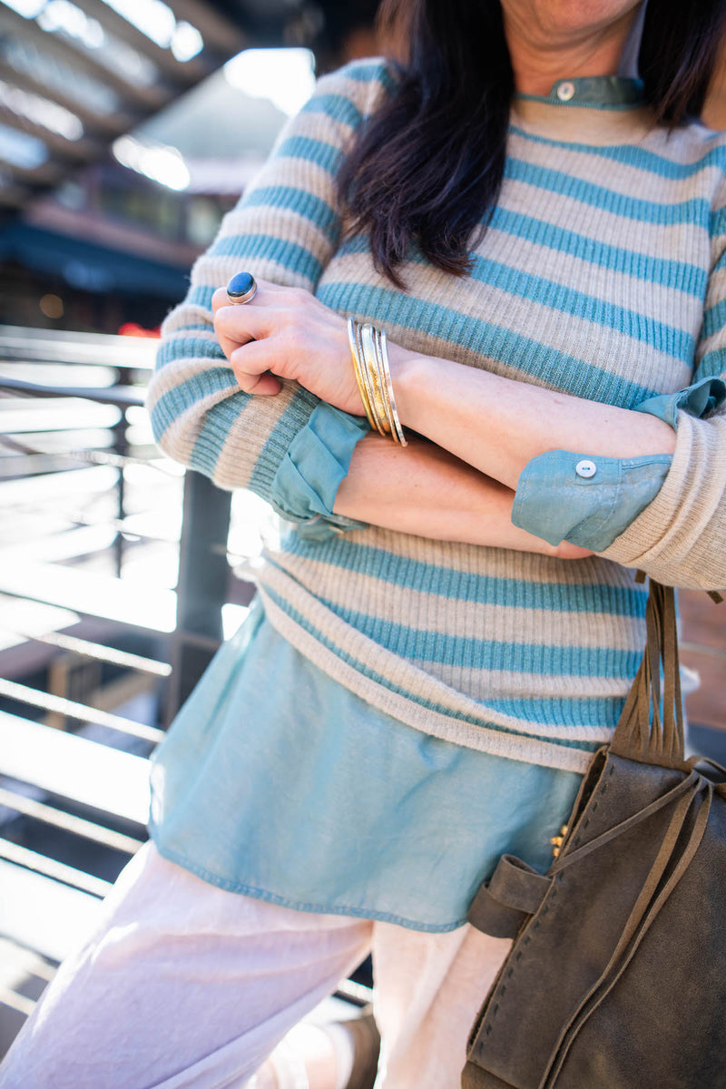 ivory velvet and cashmere stripe sweater............