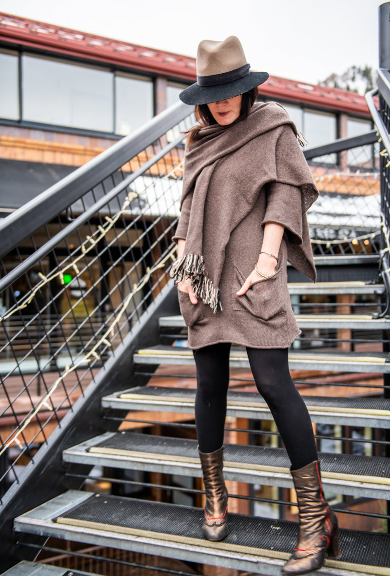 cashmere mini dress and wrap...........