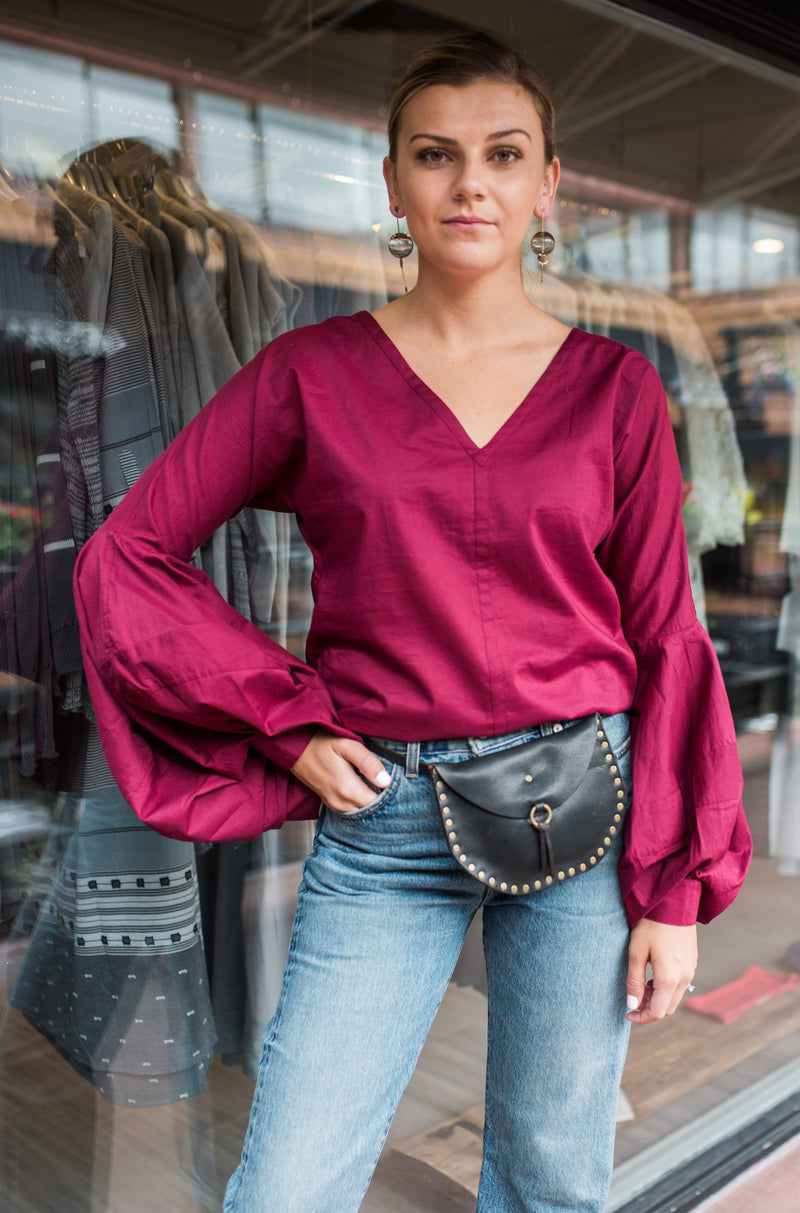 burgundy cotton blouse................love