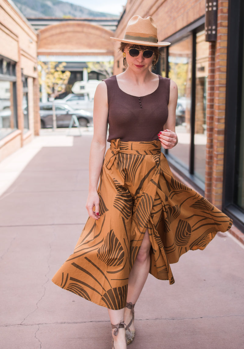 chocolate and caramel wrap skirt.............