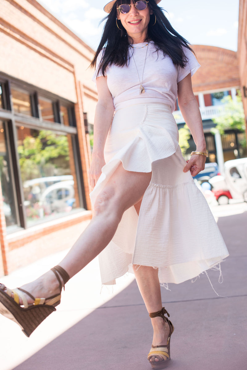 white ruffle skirt & white tee..............easy