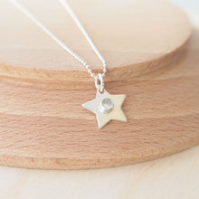 Load image into Gallery viewer, Sterling Silver Star with White Topaz for April's Birthstone