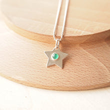 Load image into Gallery viewer, Silver Star pendant with Green Agate stone centre