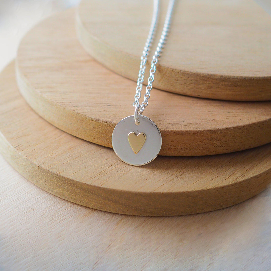 Silver Circle and Heart Pendant with Brass